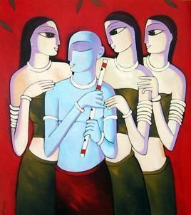 Rasa II by Sekhar Roy, Decorative, Decorative Painting, Acrylic on Canvas, Brown color