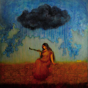 The Eternal Love by Avik Chakraborty, Impressionism, Impressionism Painting, Acrylic on Canvas, Blue color