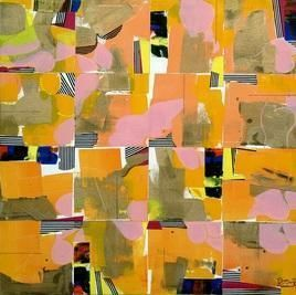 Urban Glimpses by Prabhinder Lall, Geometrical, Geometrical Painting, Acrylic on Canvas, Brown color