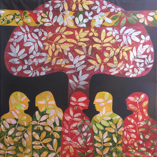 Gossip by Sonali Chouhan, Decorative, Decorative Painting, Acrylic on Canvas, Brown color