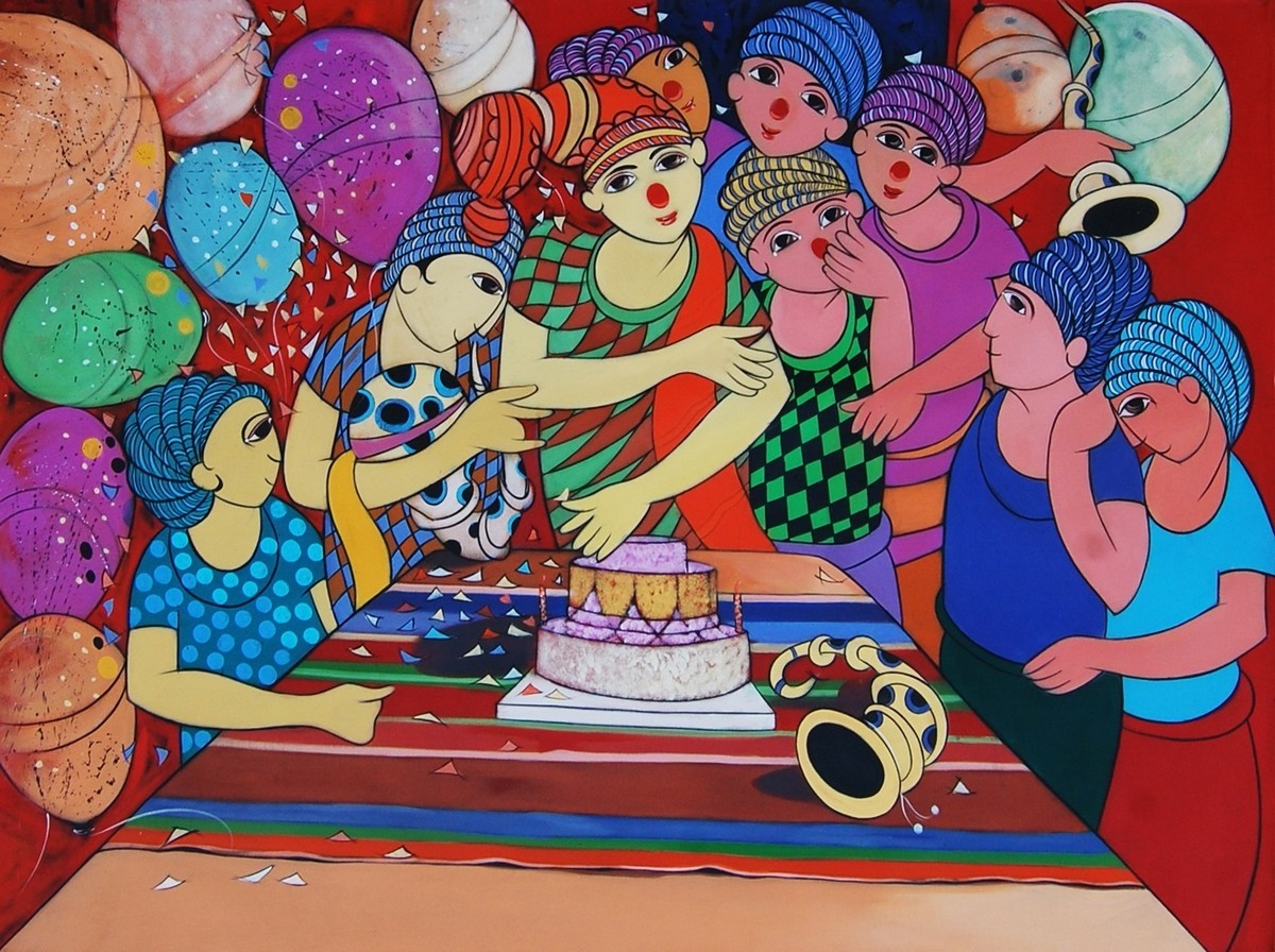 Birthday Celebration by Dnyaneshwar Bembade, Decorative, Decorative Painting, Acrylic on Canvas, Brown color