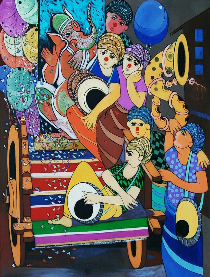 Ganesha Festival by Dnyaneshwar Bembade, Decorative, Decorative Painting, Acrylic on Canvas, Brown color