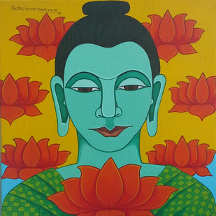 Buddha01 by Thota Laxminarayana, Traditional, Traditional Painting, Acrylic on Canvas, Green color