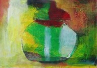 Objects Of Interest 2 by Srinath V, Naive, Naive Painting, Acrylic on Paper, Green color