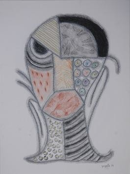 Beyond Mask 23 by Yogeeta Yadav, Illustration, Illustration Drawing, Graphite on Paper, Gray color
