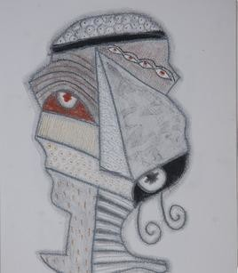 Beyond Mask 19 by Yogeeta Yadav, Illustration, Illustration Drawing, Graphite on Paper, Gray color