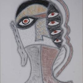 Beyond Mask 22 by Yogeeta Yadav, Illustration, Illustration Drawing, Graphite on Paper, Gray color