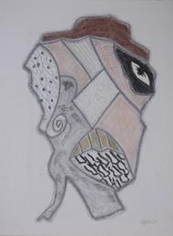 Beyond Mask 17 by Yogeeta Yadav, Illustration, Illustration Drawing, Graphite on Paper, Gray color