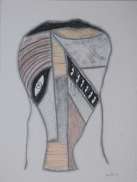 Beyond Mask 1 by Yogeeta Yadav, Abstract, Abstract Drawing, Graphite on Paper, Gray color