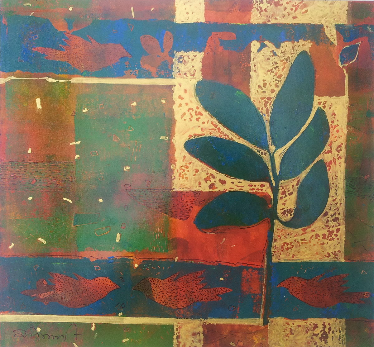 untitle by Sonali Chouhan, Decorative, Decorative Painting, Oil on Paper, Brown color
