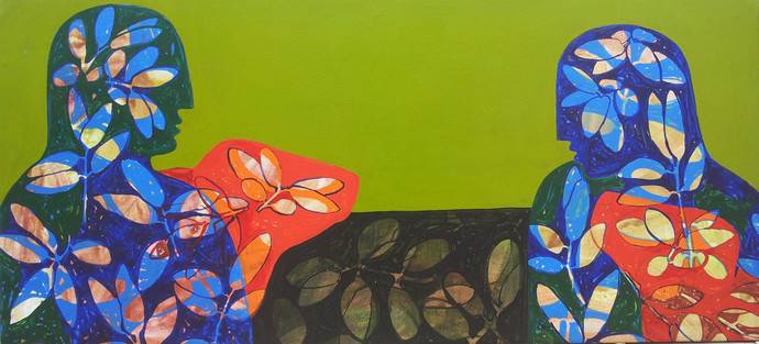 Untitled by Sonali Chouhan, Decorative, Decorative Painting, Acrylic on Canvas, Green color