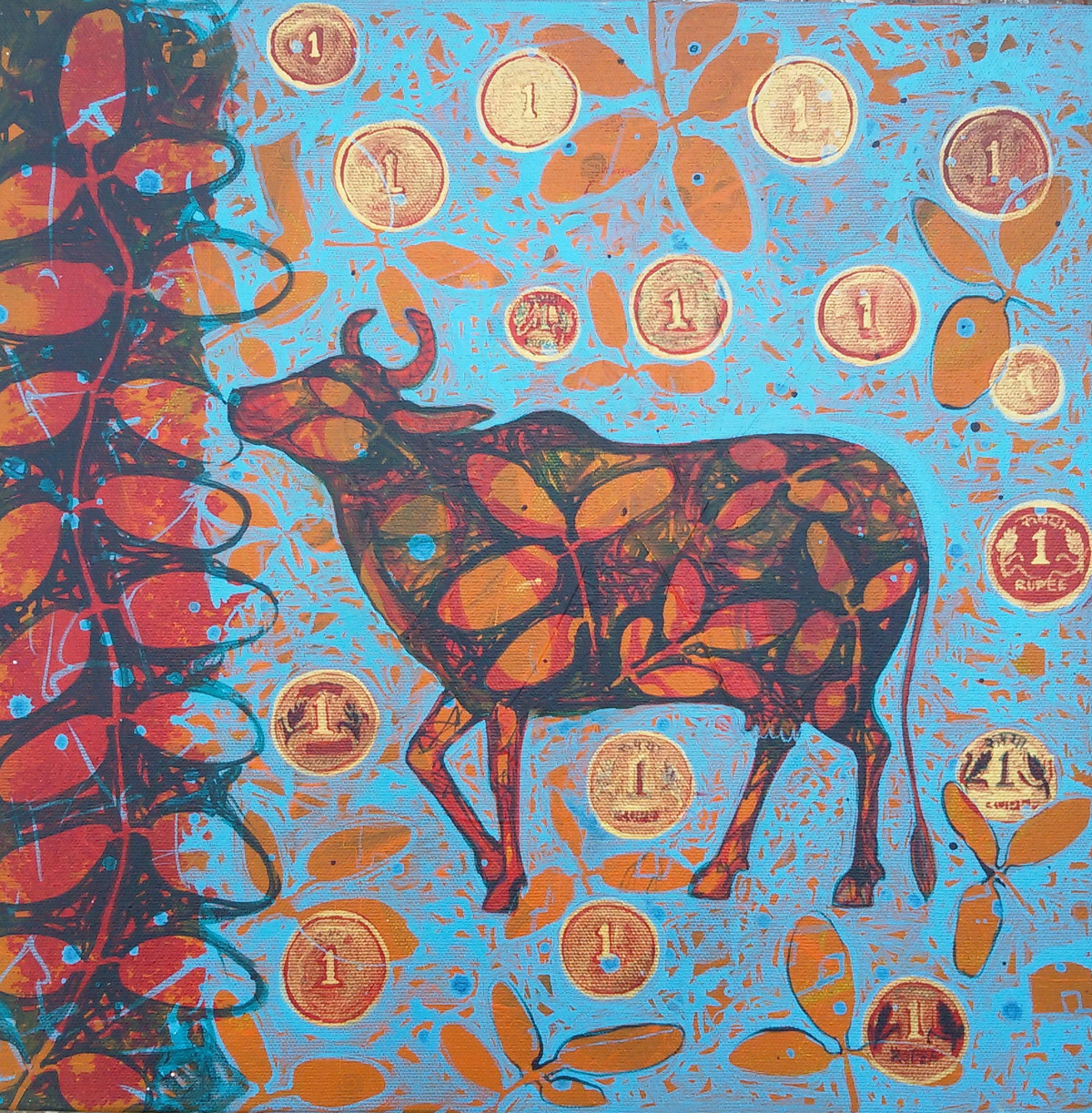 Desire by Sonali Chouhan, Decorative, Decorative Painting, Acrylic on Canvas, Brown color