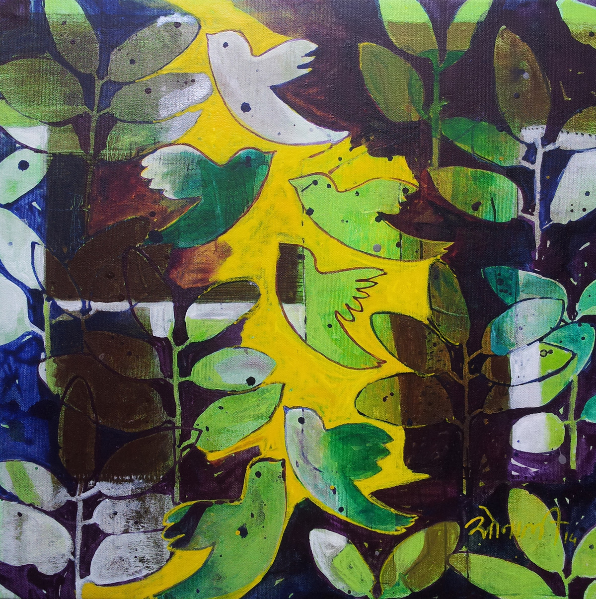 Birds by Sonali Chouhan, Decorative, Decorative Painting, Acrylic on Canvas, Green color