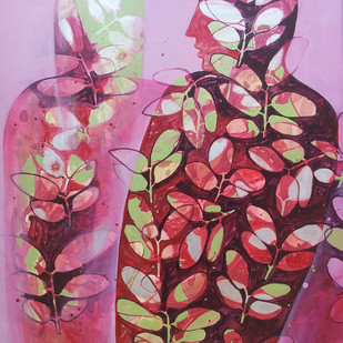 Untitled by Sonali Chouhan, Decorative, Decorative Painting, Acrylic on Canvas, Pink color