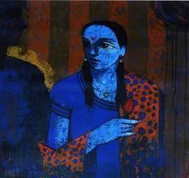 Unique by Ganesh Patil, Decorative, Decorative Painting, Acrylic on Canvas, Blue color