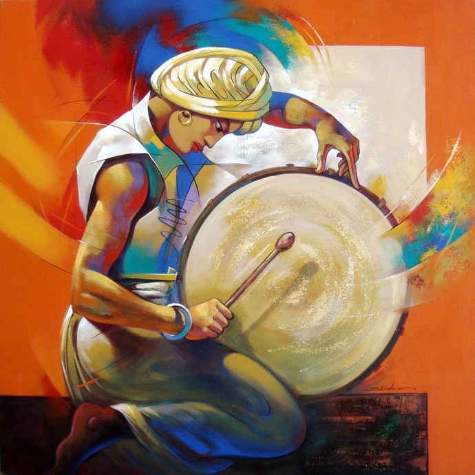 Musician by Shankar Gojare, Decorative, Decorative Painting, Acrylic on Canvas, Beige color