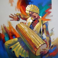 Musician by Shankar Gojare, Decorative, Decorative Painting, Acrylic on Canvas, Brown color