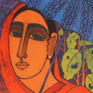 Lady with Umbrella by Mamata Shingade, Decorative Painting, Acrylic on Canvas, Brown color