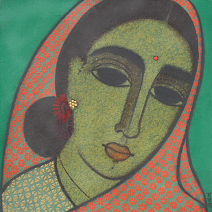 HeadIII by Mamata Shingade, Painting, Acrylic on Canvas, Brown color