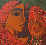 Dove by Mamata Shingade, Decorative Painting, Acrylic on Canvas, Brown color