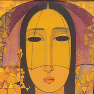 Yellow Umbrella by Mamata Shingade, Decorative Painting, Acrylic on Canvas, Brown color