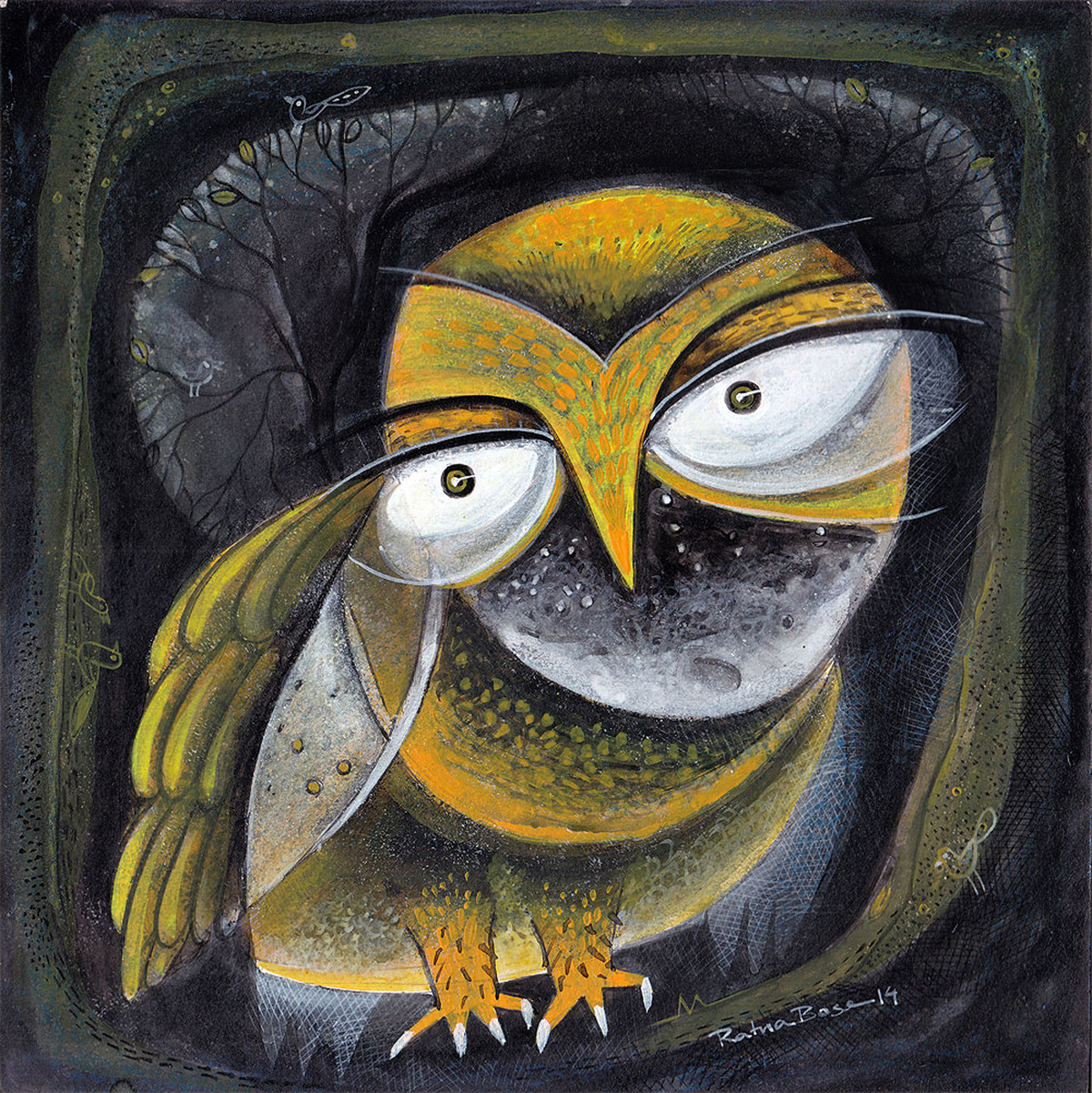 Owl XIII by Ratna Bose, Decorative, Decorative Painting, Acrylic on Board, Gray color
