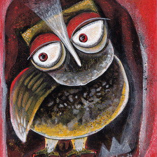 Owl XII by Ratna Bose, Decorative, Decorative Painting, Acrylic on Board, Brown color