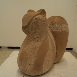 Squirrel by Vikram Waghmode, Art Deco, Art Deco Sculpture | 3D, Sandstone, Beige color