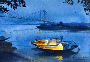 Princep Ghat at Dusk by Ramesh Jhawar, , , Blue color