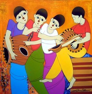 Musical Man by Dnyaneshwar Bembade, Decorative, Decorative Painting, Acrylic on Canvas, Brown color