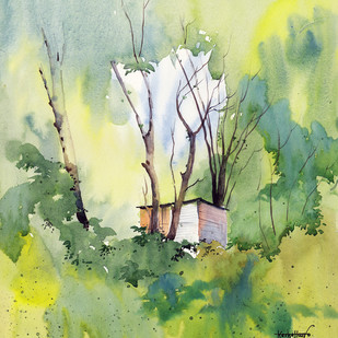 MendhiFarm by Gajanan Kashalkar, Painting, Watercolor on Paper, Beige color