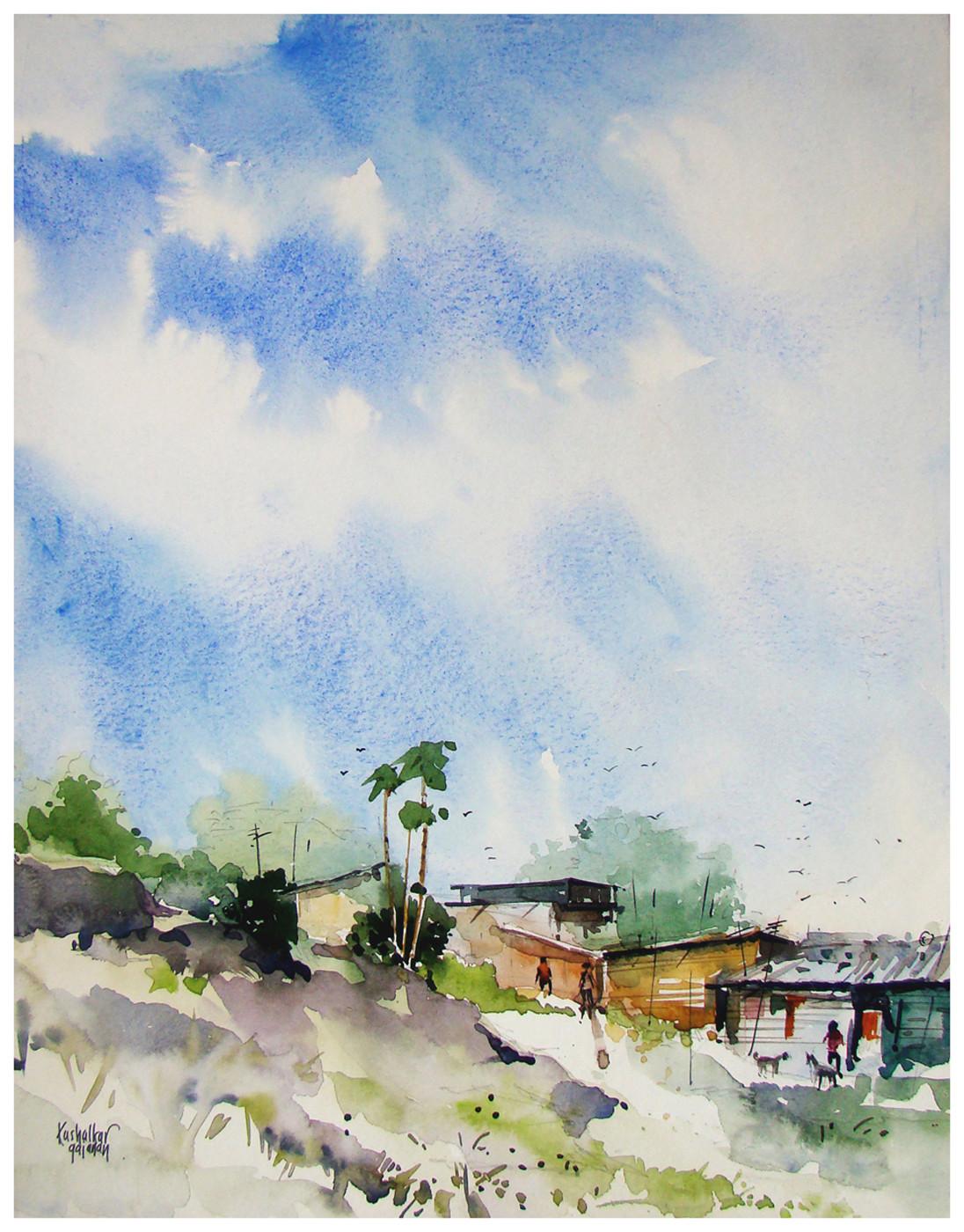 SlumArea by Gajanan Kashalkar, Painting, Watercolor on Paper, Gray color