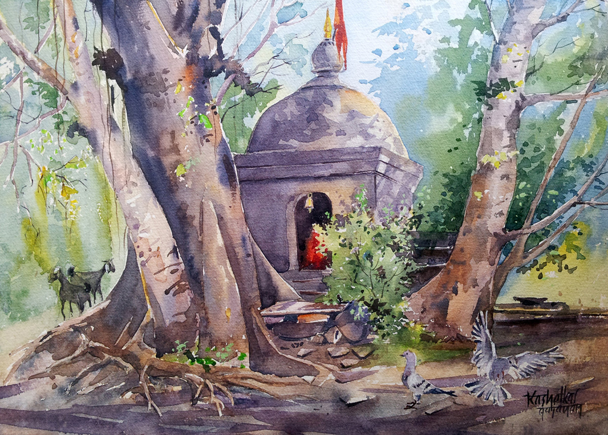 Temple by Gajanan Kashalkar, Painting, Watercolor on Paper, Brown color