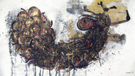 Bird by Abhijit Pawaskar, Conceptual, Conceptual Painting, Mixed Media on Paper, Gray color