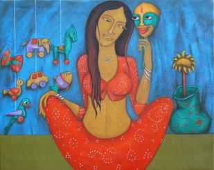 Eternal Beauty - VI by Hitendra Singh Bhati, , , Blue color