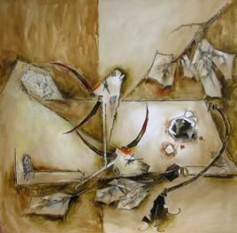 silent by Mamta Chaudhary, Painting, Mixed Media on Canvas, Brown color