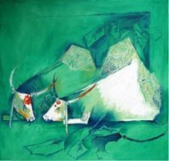 beauty by Mamta Chaudhary, Painting, Mixed Media on Canvas, Green color