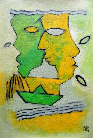 Untitled by Ratnakar Ojha, Naive, Naive Painting, Oil on Paper, Green color