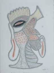 BeyondMask49 by Yogeeta Yadav, Abstract, Abstract Drawing, Graphite on Paper, Pink color