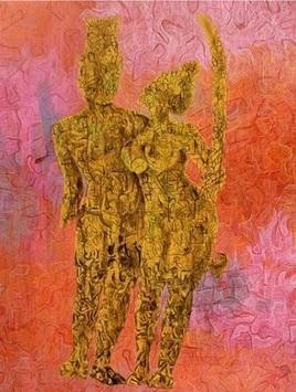Khajuraho by Apurva Singh, Expressionism Painting, Mixed Media on Canvas, Brown color
