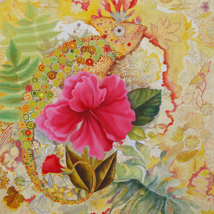 Nature 1 by Debarati Roy Saha, Decorative, Decorative Painting, Oil & Acrylic on Canvas, Beige color