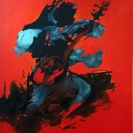 Djentleman by Tirthankar Biswas, Abstract, Abstract Painting, Oil on Canvas, Red color