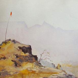 Flag by Gajanan Kashalkar, Painting, Watercolor on Paper, Gray color