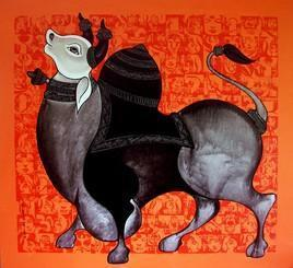 Nandi2 by Vivek Kumavat, , , Orange color