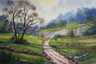 Landscape by Balakrishnan S, Impressionism, Impressionism Painting, Watercolor on Paper, Green color