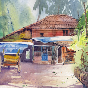 Konkan House by Gajanan Kashalkar, Impressionism, Impressionism Painting, Watercolor on Paper, Brown color