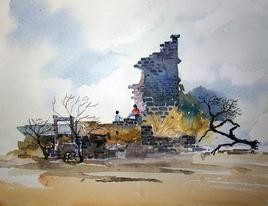 Past by Gajanan Kashalkar, Painting, Watercolor on Paper, Gray color
