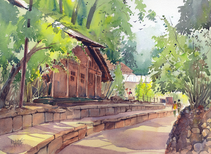 Lane by Gajanan Kashalkar, Impressionism, Impressionism Painting, Watercolor on Paper, Brown color