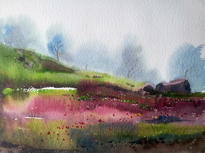 Nature by Gajanan Kashalkar, Impressionism, Impressionism Painting, Watercolor on Paper, Gray color