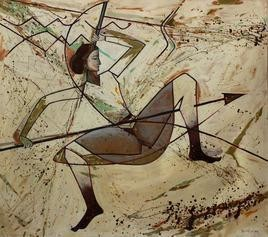 Composition by Alok Kumar, Painting, Oil on Canvas, Beige color